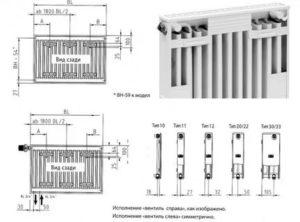 Радиаторы отопления: размеры и тепловая мощность