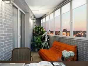 Крашеный кирпич на балконе